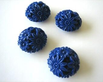 Midnight blue resin flower beads