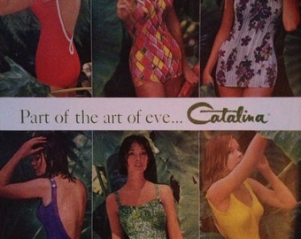 Vintage 1961 Catalina Swimsuit Ad, Paper Ephemera from a Life Magazine.