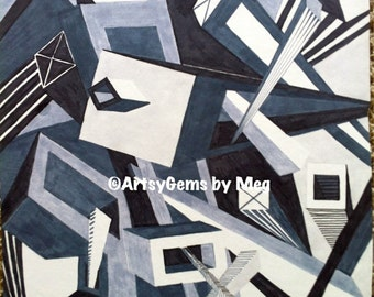 """Original Drawing of Futuristic City at Bird's Eye View in Fifty Shades of Grey (Abstracted Perspective Study, Marker on Board) - 15"""" x 20"""""""