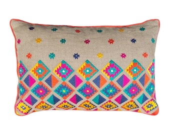 Colorful bohemian style linen pillow cover embroidered moroccan pillow case tribal indian cushion cover peruvian aztec pillow ethnic