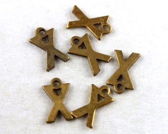 12x Vintage Brass Initial Charms - M030-X