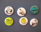 "Set of 6 Vegan Pride motif 1"" buttons/ badges/ pins - BuenoButtons"