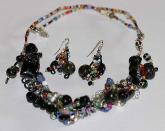Chunky, Black, Lampwork Beaded Necklace and Wire Earring Set, Made in Nikiski, Alaska