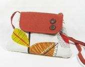 Small shoulder bag orange leaves, cotton purse, womens bag
