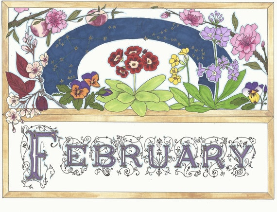 February Birthday Card with February Flowers