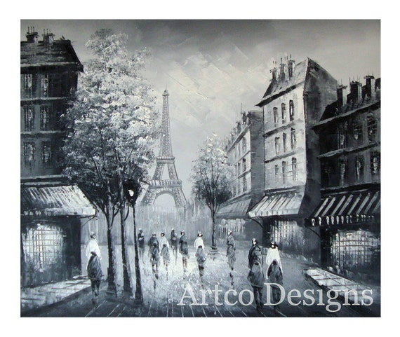 Items similar to paris cityscape painting black and white for Black and white paris wall mural