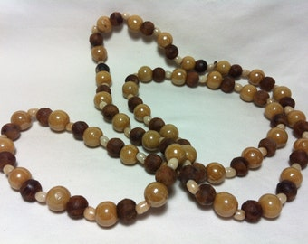 Vintage Brown and Cream Ceramic and Wooden Bead Necklace
