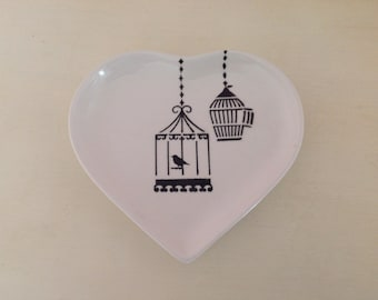 Hand Painted Ceramic Heart Plate - Vintage Bird Cage Design