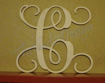 14 inch OUTDOOR Single Letter Vine Wooden Monogram (multiple fonts available)