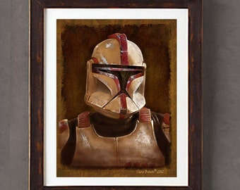 "Fine Art Print: - ""Vintage Clone Trooper - Red Captain - portrait from Star Wars""  - 8"" x 10"" Giclee print, Star Wars Fan art, Nerd Gift"