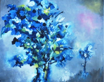 Strong Tree, Blue Oil Painting, Nature Painting Landscape Painting Original, Misty Night, Stretched Canvas, Home Art, Office Decor, Impasto