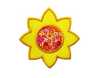"""Sunflower Applique Machine Embroidery Design Pattern in 4 sizes 3"""", 4"""", 5"""" and 6"""""""