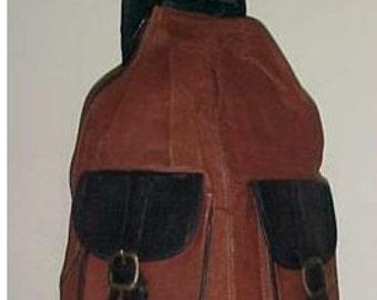 """Free ship Backpack Large Leather Hobo satchel purse 18""""x14""""x7"""" Brown Black shoulder bag"""