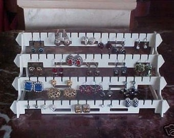 Earring rack,earring display, display, organizer ,holds 32 pairs, 4 tier, hard plastic ,jewelry holder, rack