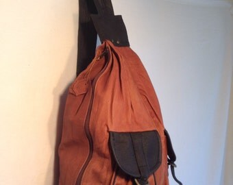 Backpack bag, leather backpack,large, leather back pack, brown, black , Bikers Bag