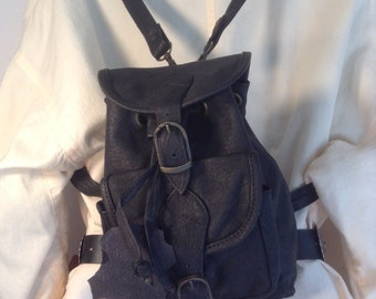 "Backpack bag, black leather, mini backpack,shoulder bag, purse 9"" 5"" 3"" small bags mini"