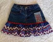 Upcycled Denim Skirt with Chevron Ruffle girls size 8
