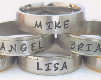 stainless steel comfort fit name ring