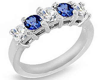 1.25 ct. Blue Sapphire and Diamond Band