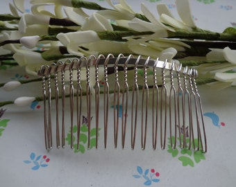 SALE--100 Pcs 36mmx75mm (20teeth) plated Silver Hair Combs silver Tone Wire Hair Combs