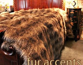FUR ACCENTS Faux Fur Bedspread / Comforter / Gray Brown Raccoon