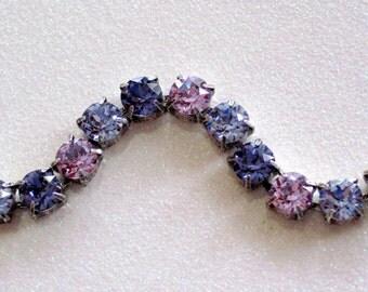 Purple Passion - Lavender, Tanzanite, & Violet  Swarovski Crystal Chain Bracelet - Beautiful Mixed Purple Crystals 8mm