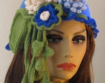 Blue Waterlily Crochet Skullcap Hat