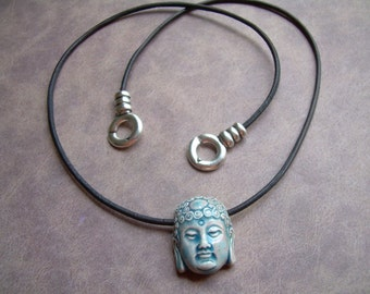 Buddha Necklace, Leather Necklace, Buddha  Pendant , Mens Necklace, Womens Necklace, Womens Jewelry, Mens Jewelry