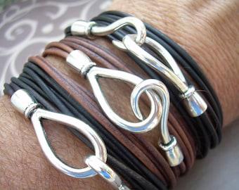 Leather  Bracelet, Triple Wrap, Mens Bracelet, Mens Jewelry, Mens Gift, Womens Bracelet, Womens Jewelry