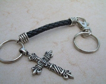 Fleur De Lis Cross on a Leather Keychain, Cross Keychain, Religious Gift, Keychain, Leather Keychain, Valet, Key Chain, Men, Womens, Gift