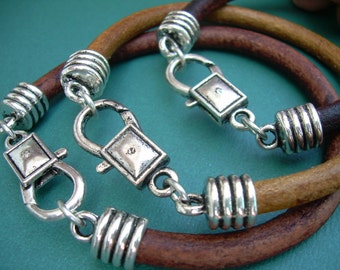 Mens Leather Bracelet with Lobster Clasp, Mens Bracelet, Mens Jewelry, Mens Gift, Leather Bracelet