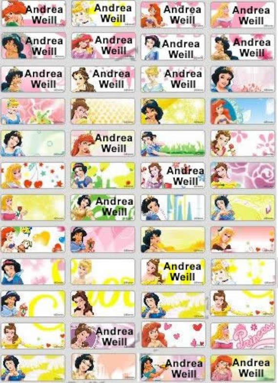 112 Disney Princess Custom Waterproof Name Labels School