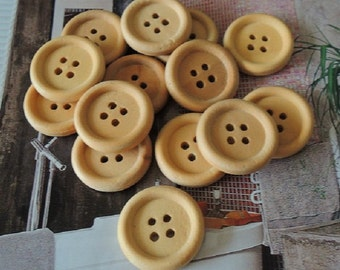 20Pcs  20mm Unfinished Natural  Wood button 4 holes No varnish  for your handmade ( W106)
