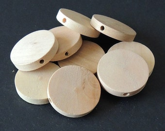 20 Pcs 25mm Natural Wood Circles Wooden discs Unfinished round disk  Bead  (W181)