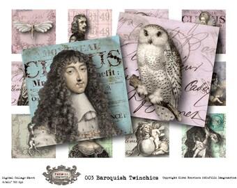 "Baroquish - 2x2"" - Digital Collage Sheet - instant download"