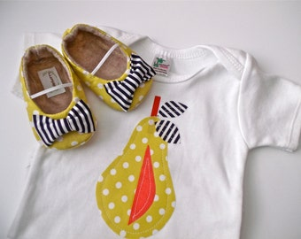 PEAR Girl Shoe / Onepiece Outfit - Yellow polka dot