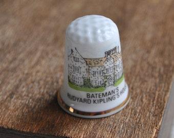 Vintage bone china thimble - National Trust - Bateman's - Rudyard Kipling's House - England