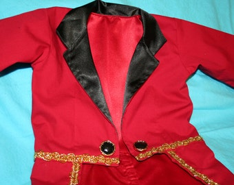 Circus Ringmaster Costume - Tuxedo Jacket Fully Lined with Tails - Birthday, Carnival, Circus, Photo Prop, Wedding