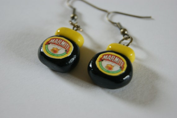 Cute Marmite dangle Earrings - For the Marmite lovers out there