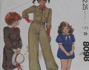 McCall's 8098 Pattern Girls' Annie Romper or Jumpsuit Vintage 1982 Uncut Size 12