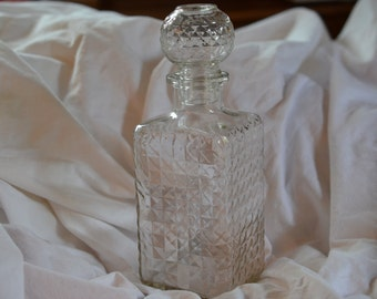 Vintage Glass Decanter for beverages or alcohol; great gatsby style jug container for liquid/perfume crafts/supplies etc