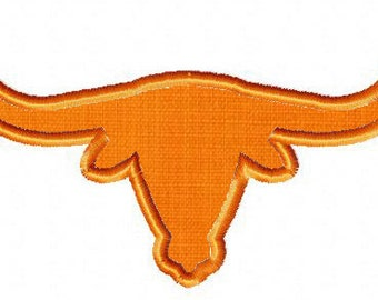 INSTANT DOWNLOAD Double Pack Longhorn Machine Embroidery Design Includes BOTH Applique and Filled Stitch