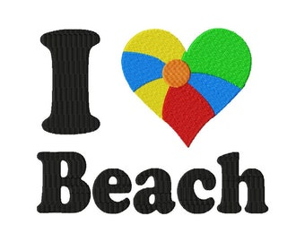 INSTANT DOWNLOAD I Heart Beach Machine Embroidery Design