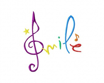 INSTANT DOWNLOAD Musical Notes Smile Machine Embroidery Design