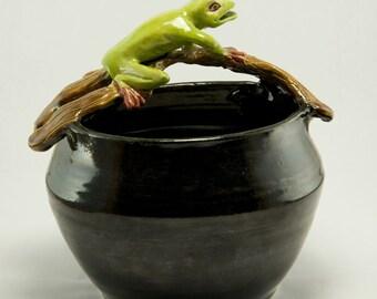 Frog on Limb Art Pot