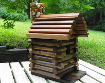 Rustic Log Cabin Birdhouse