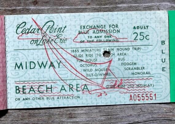 Vintage Cedar Point ride ticket book