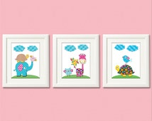 Pink, blue and yellow Art Print Set - 5x7 - Baby Room Decor, colorful, elephant, owl, turtle, green, brown, giraffe - UNFRAMED