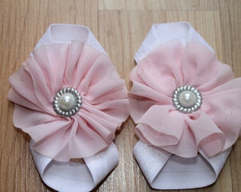 Baby Barefoot Sandals...White with Baby Pink...Toddler Sandals...Newborn Sandals