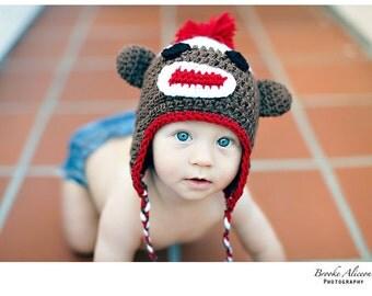 Sock Monkey hat crochet pattern NB-5 and up